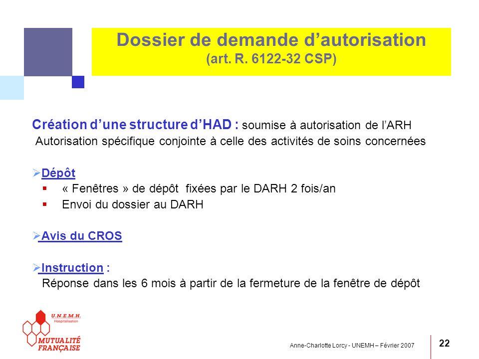 Dossier de demande d'autorisation (art. R. 6122-32 CSP)