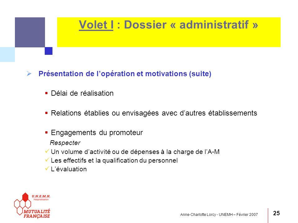 Volet I : Dossier « administratif »