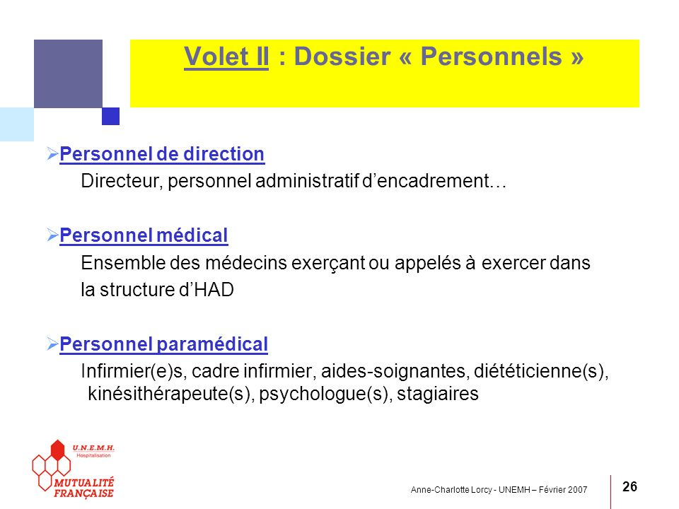 Volet II : Dossier « Personnels »