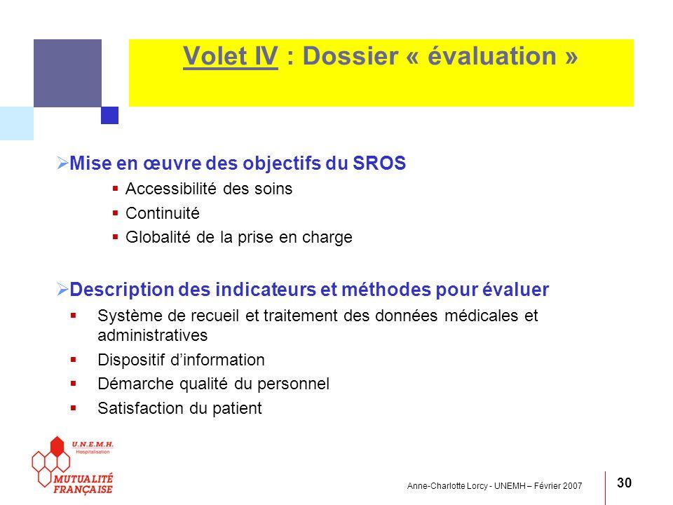 Volet IV : Dossier « évaluation »