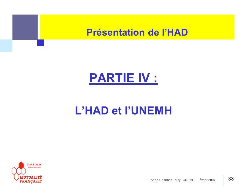 PARTIE IV : L'HAD et l'UNEMH Présentation de l'HAD