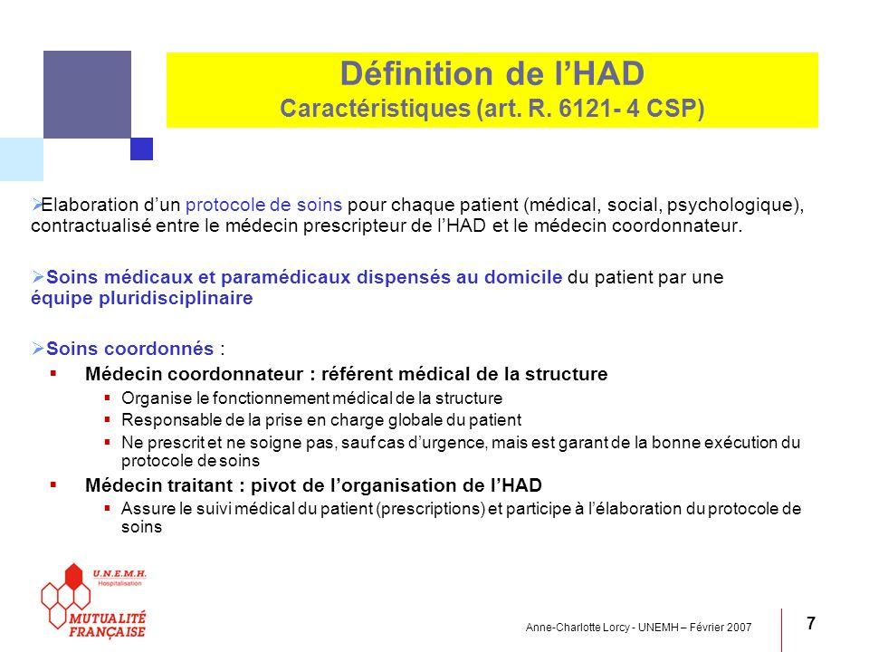 Définition de l'HAD Caractéristiques (art. R. 6121- 4 CSP)