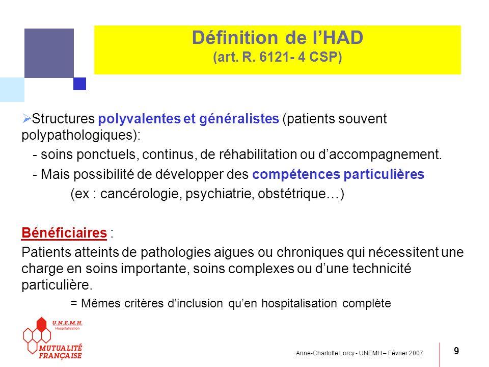 Définition de l'HAD (art. R. 6121- 4 CSP)