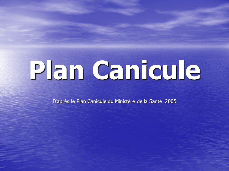 D'après le Plan Canicule du Ministère de la Santé 2005