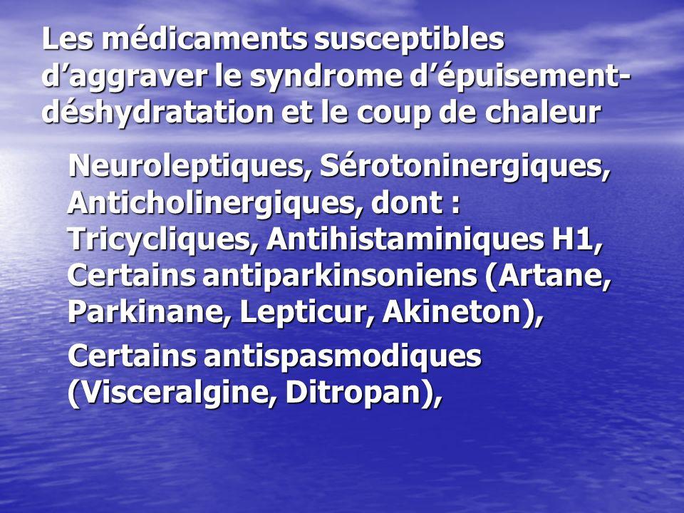 Les médicaments susceptibles d'aggraver le syndrome d'épuisement-déshydratation et le coup de chaleur
