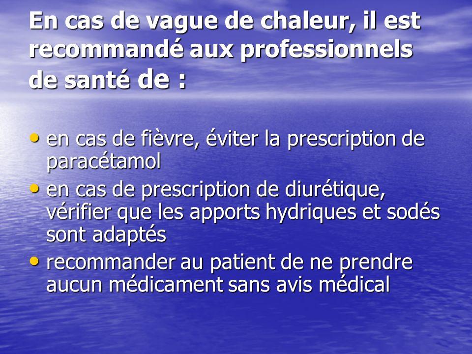 En cas de vague de chaleur, il est recommandé aux professionnels de santé de :