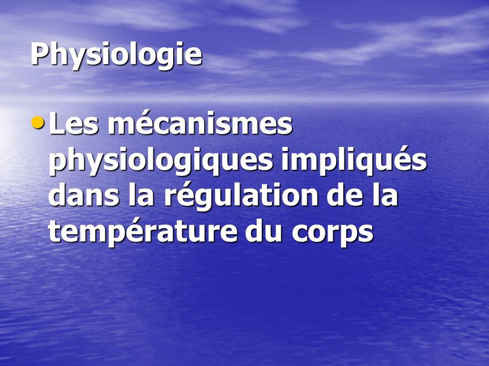 Physiologie Les mécanismes physiologiques impliqués dans la régulation de la température du corps