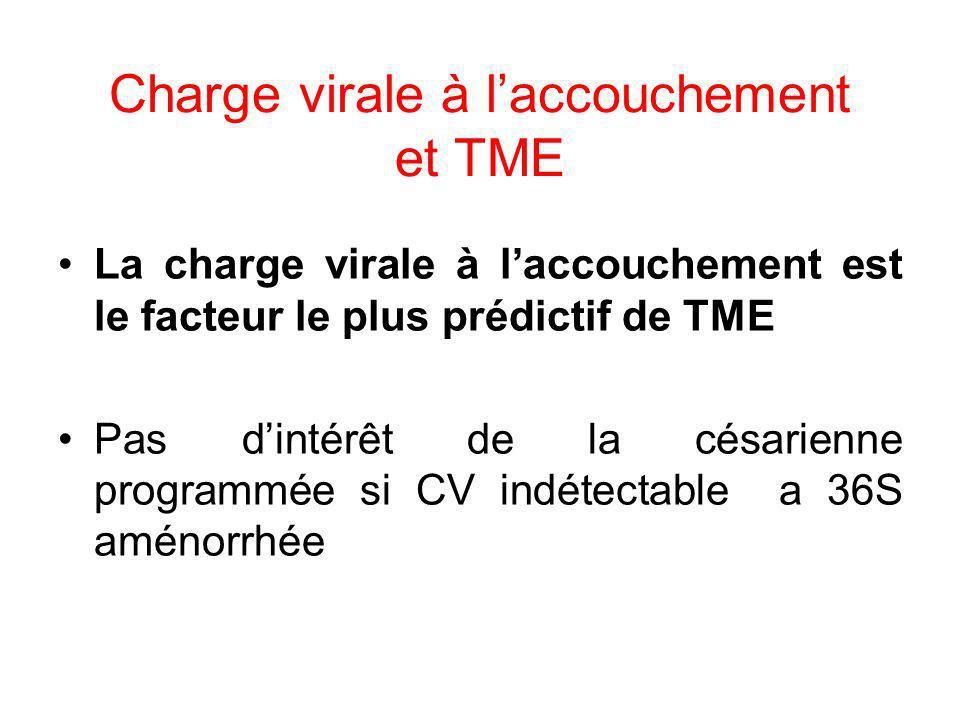 Charge virale à l'accouchement et TME