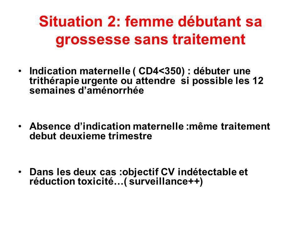 Situation 2: femme débutant sa grossesse sans traitement