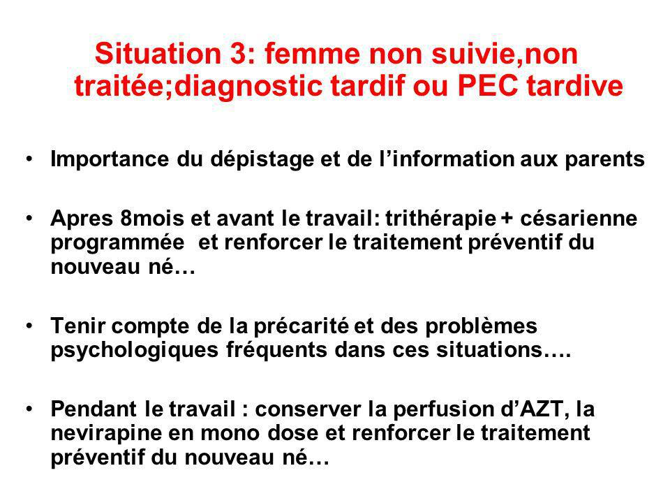 Situation 3: femme non suivie,non traitée;diagnostic tardif ou PEC tardive