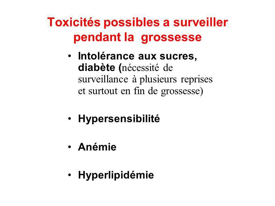 Toxicités possibles a surveiller pendant la grossesse