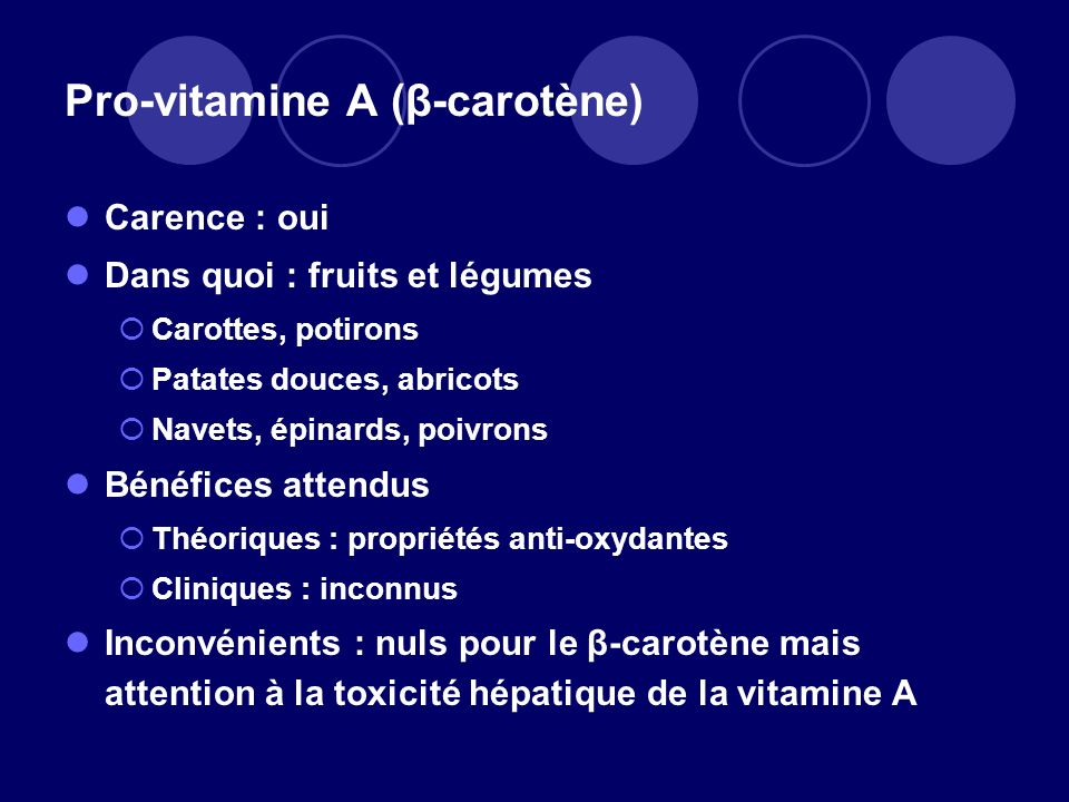 Pro-vitamine A (β-carotène)