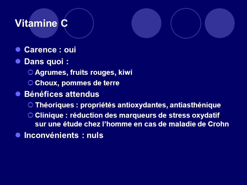 Vitamine C Carence : oui Dans quoi : Bénéfices attendus