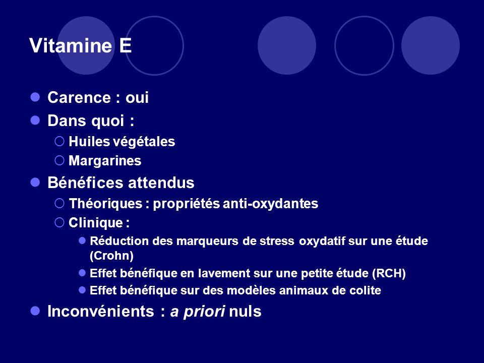 Vitamine E Carence : oui Dans quoi : Bénéfices attendus