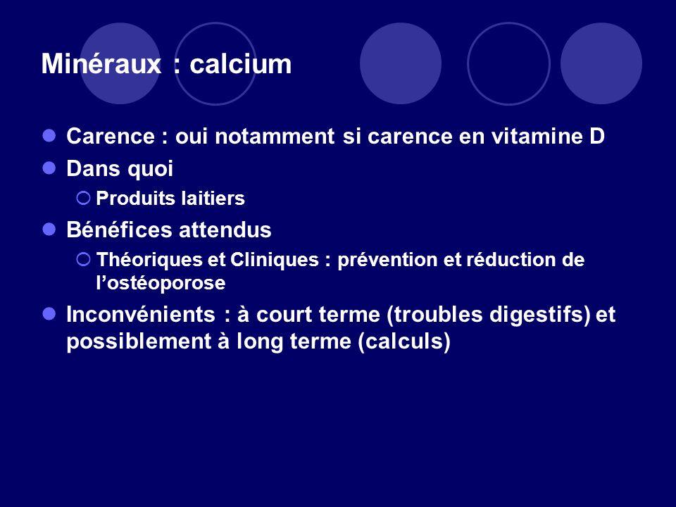 Minéraux : calcium Carence : oui notamment si carence en vitamine D