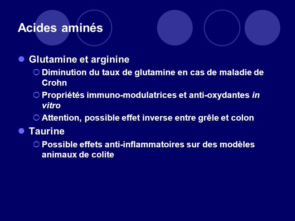 Acides aminés Glutamine et arginine Taurine