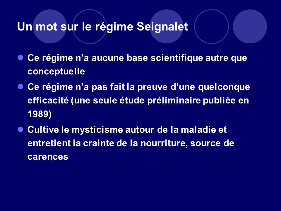Un mot sur le régime Seignalet