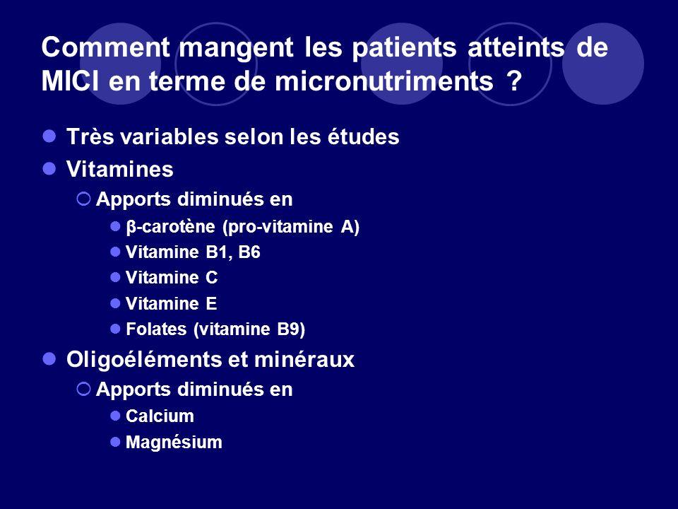 Comment mangent les patients atteints de MICI en terme de micronutriments