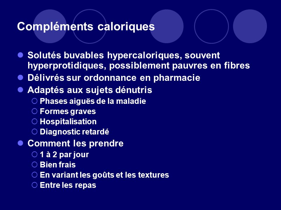 Compléments caloriques