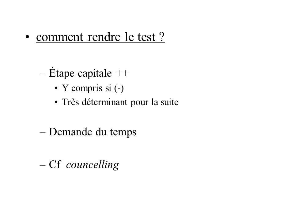 comment rendre le test Étape capitale ++ Demande du temps