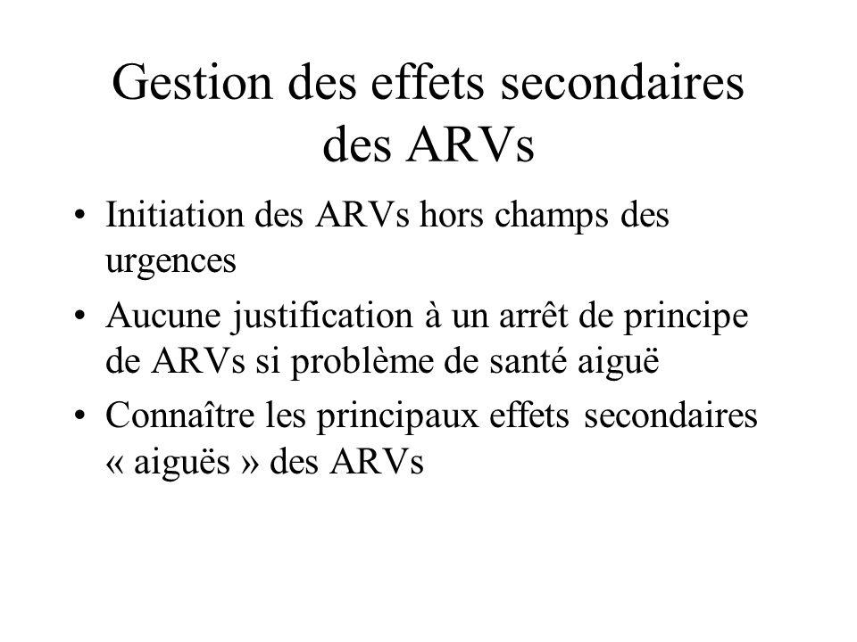 Gestion des effets secondaires des ARVs