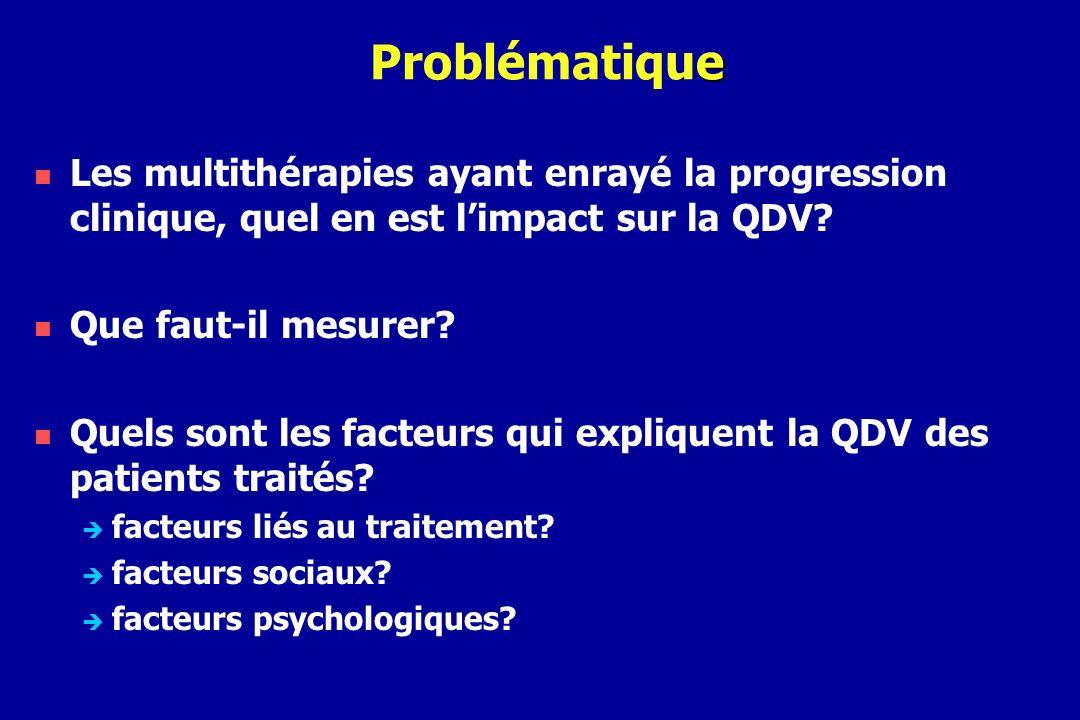 Problématique Les multithérapies ayant enrayé la progression clinique, quel en est l'impact sur la QDV