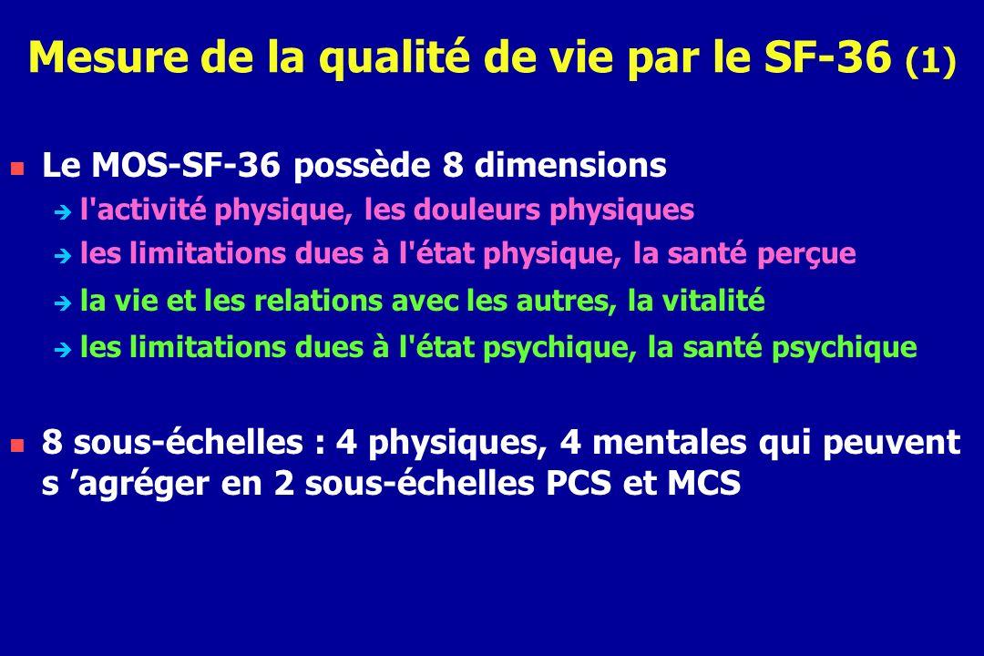 Mesure de la qualité de vie par le SF-36 (1)
