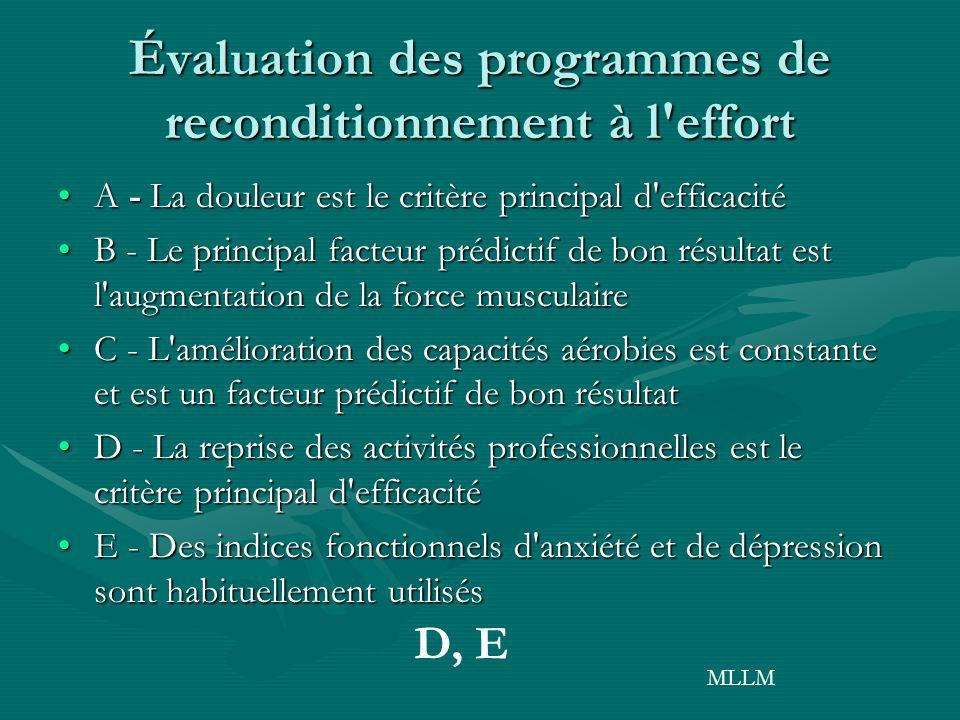 Évaluation des programmes de reconditionnement à l effort