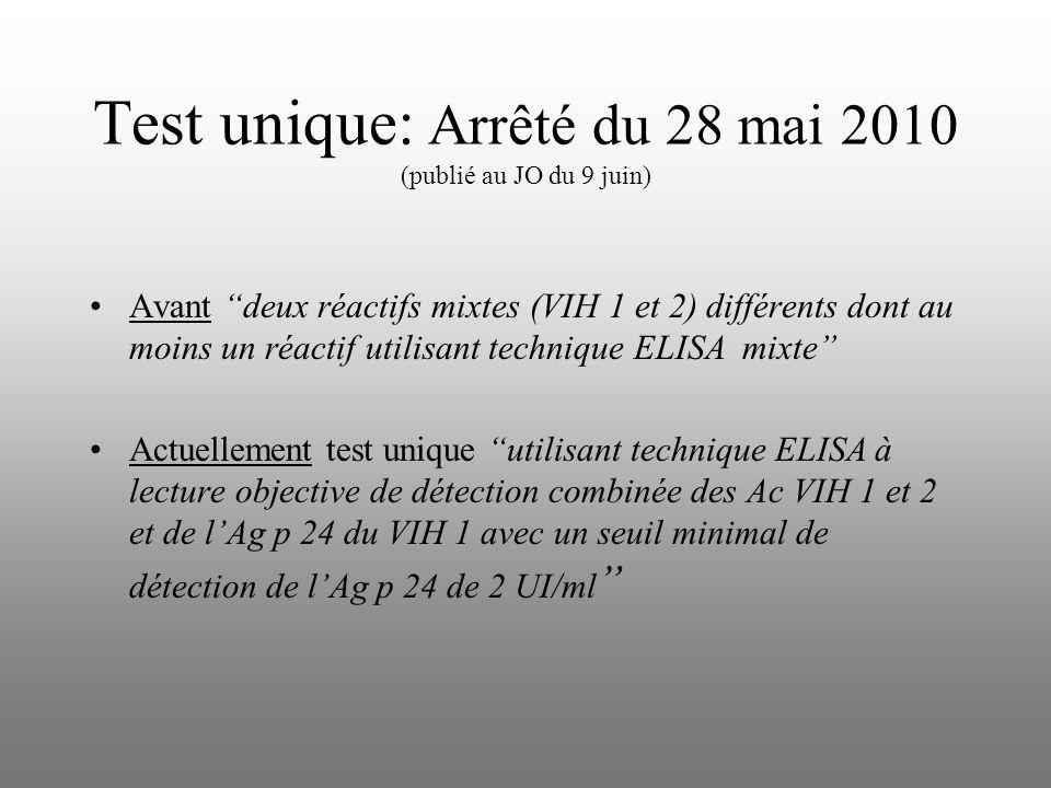 Test unique: Arrêté du 28 mai 2010 (publié au JO du 9 juin)