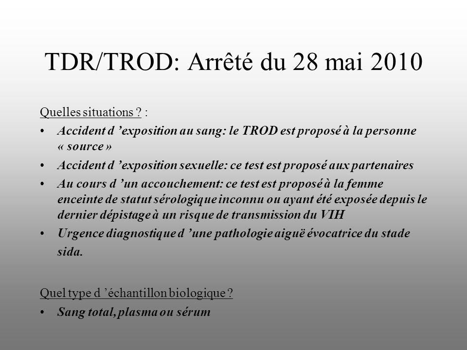 TDR/TROD: Arrêté du 28 mai 2010