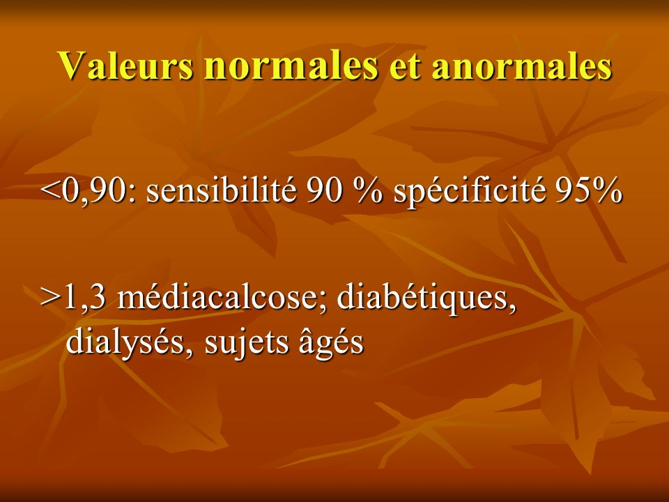 Valeurs normales et anormales
