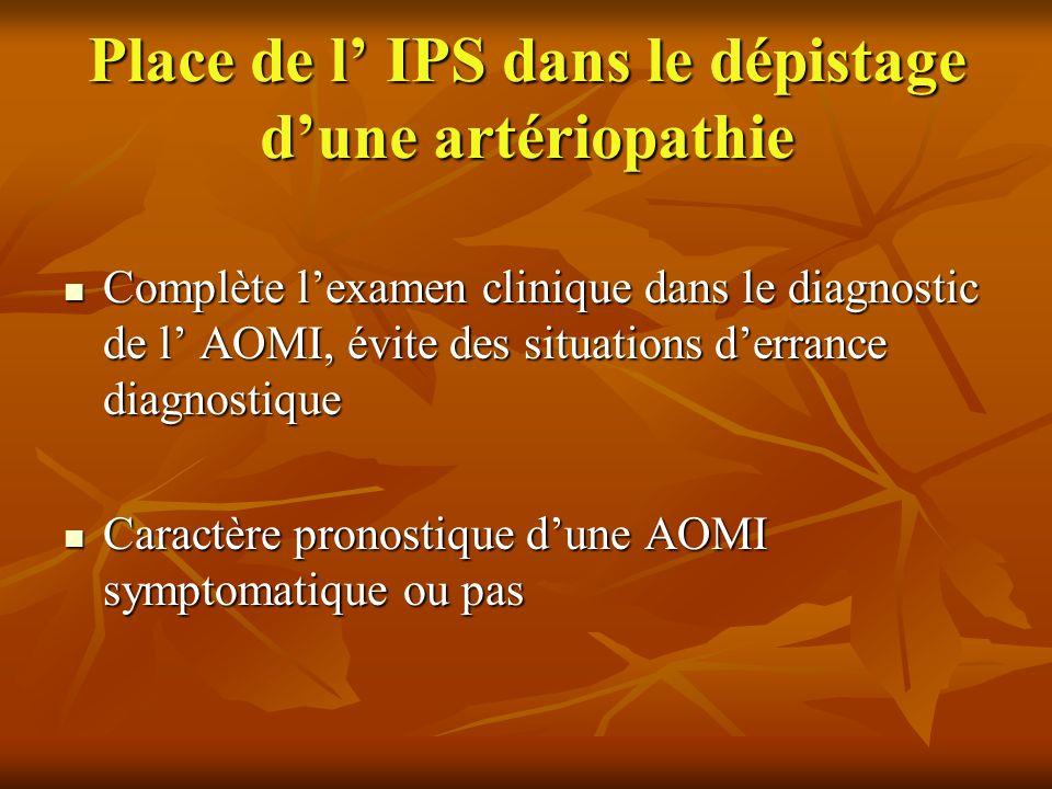 Place de l' IPS dans le dépistage d'une artériopathie
