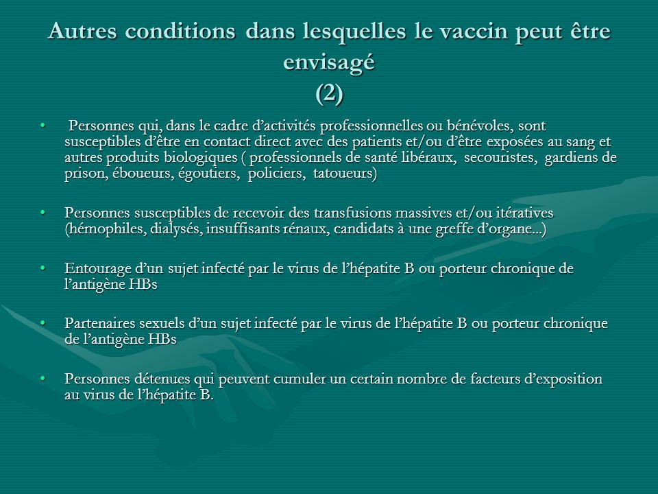 Autres conditions dans lesquelles le vaccin peut être envisagé (2)
