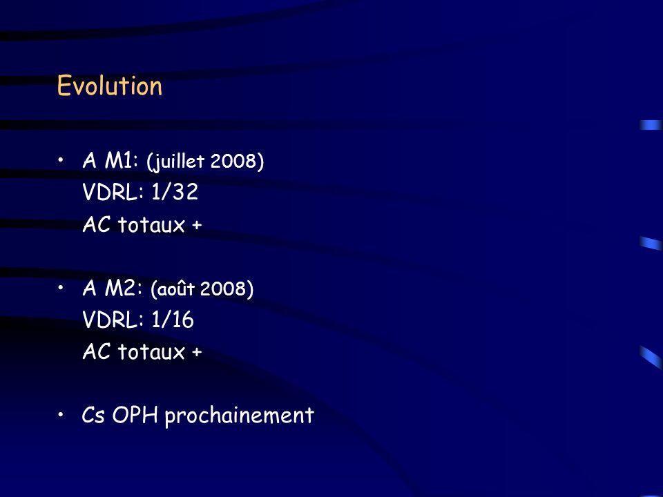 Evolution A M1: (juillet 2008) VDRL: 1/32 AC totaux +