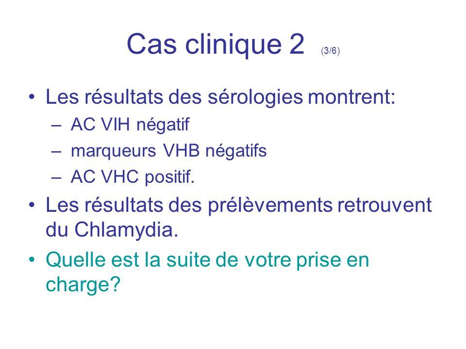 Cas clinique 2 (3/6) Les résultats des sérologies montrent: