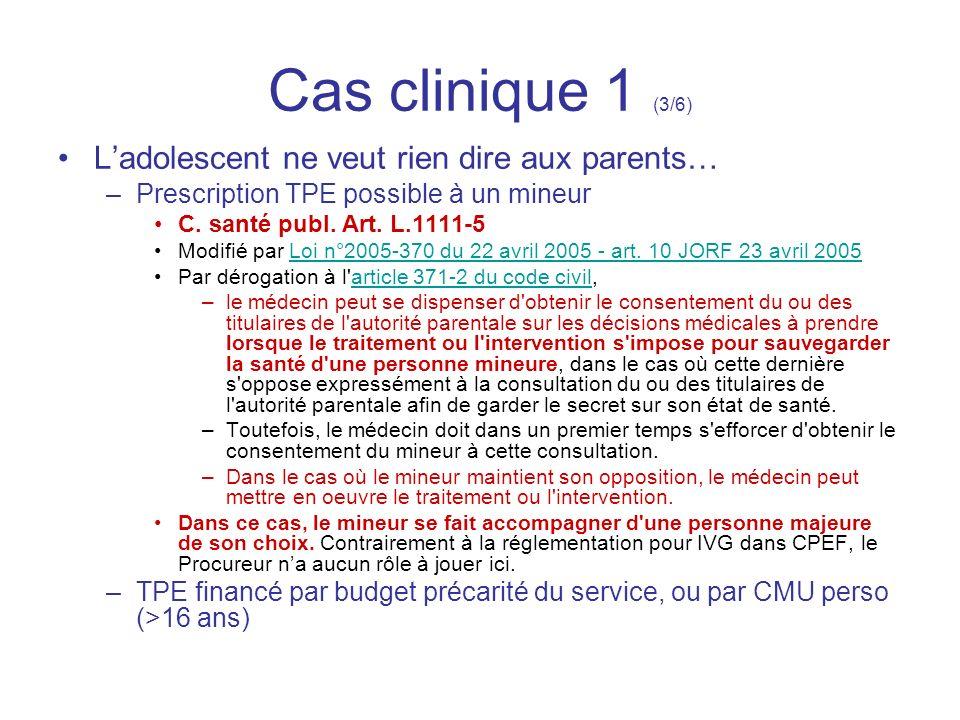 Cas clinique 1 (3/6) L'adolescent ne veut rien dire aux parents…
