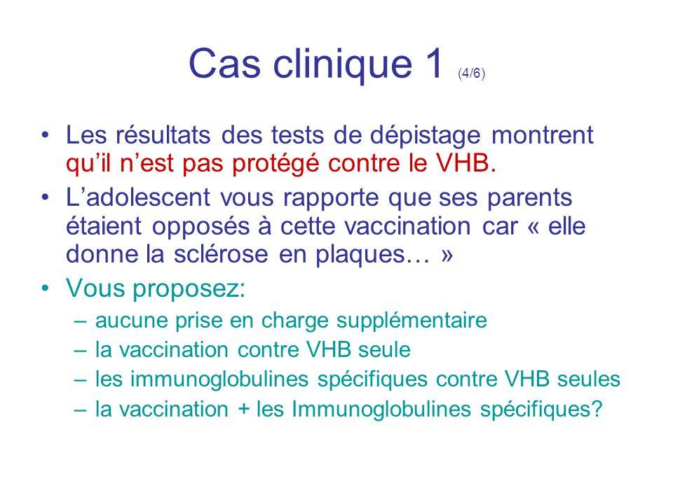 Cas clinique 1 (4/6) Les résultats des tests de dépistage montrent qu'il n'est pas protégé contre le VHB.