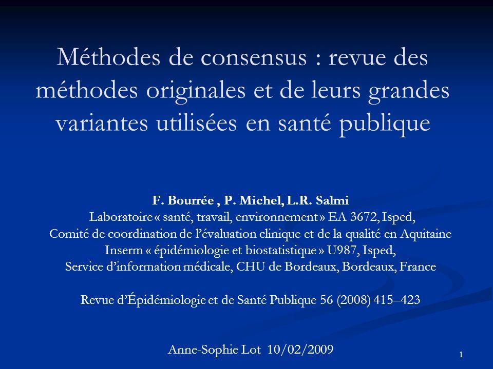 Méthodes de consensus : revue des méthodes originales et de leurs grandes variantes utilisées en santé publique