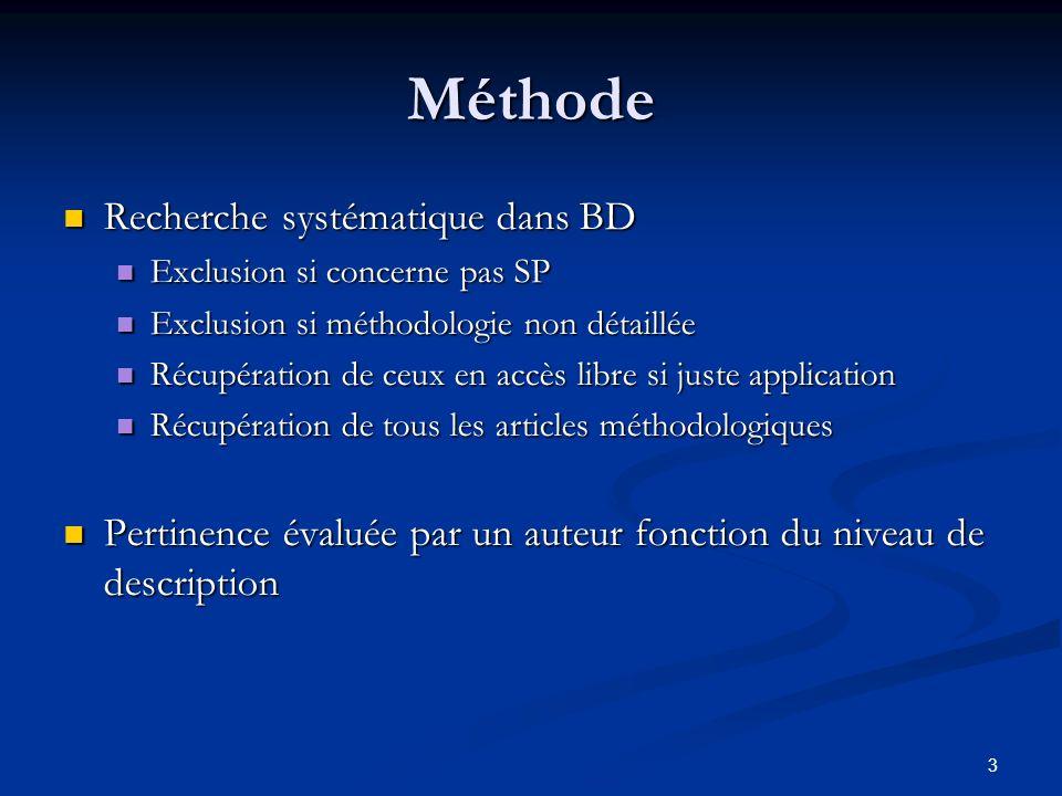 Méthode Recherche systématique dans BD