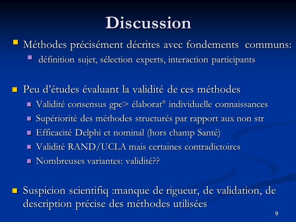 Discussion Méthodes précisément décrites avec fondements communs: