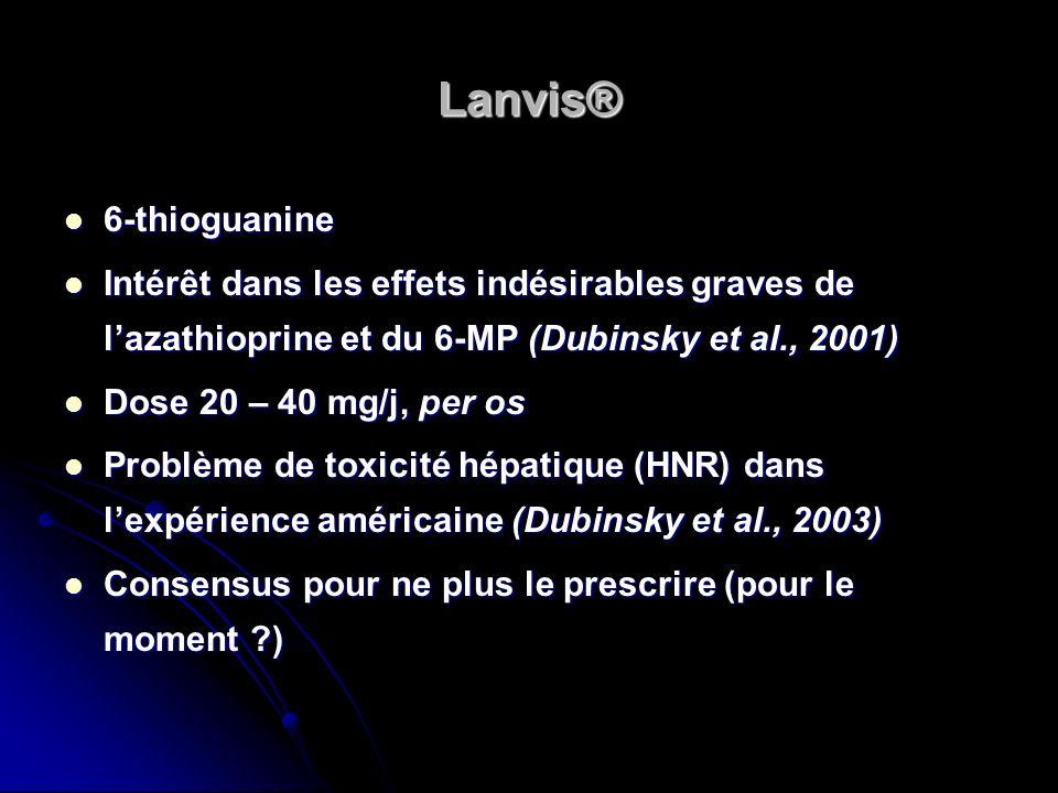 Lanvis® 6-thioguanine. Intérêt dans les effets indésirables graves de l'azathioprine et du 6-MP (Dubinsky et al., 2001)