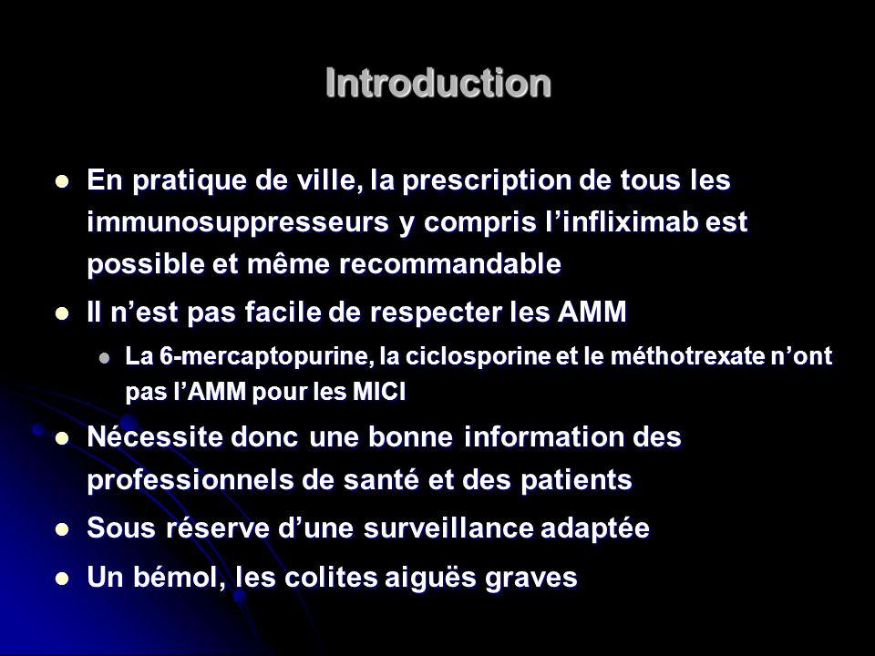 Introduction En pratique de ville, la prescription de tous les immunosuppresseurs y compris l'infliximab est possible et même recommandable.