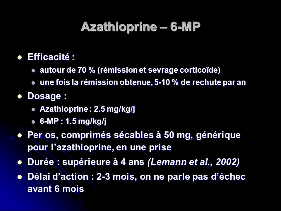 Azathioprine – 6-MP Efficacité : Dosage :