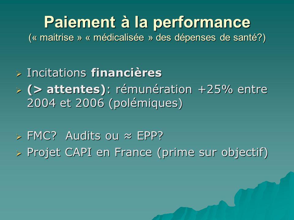 Paiement à la performance (« maitrise » « médicalisée » des dépenses de santé )