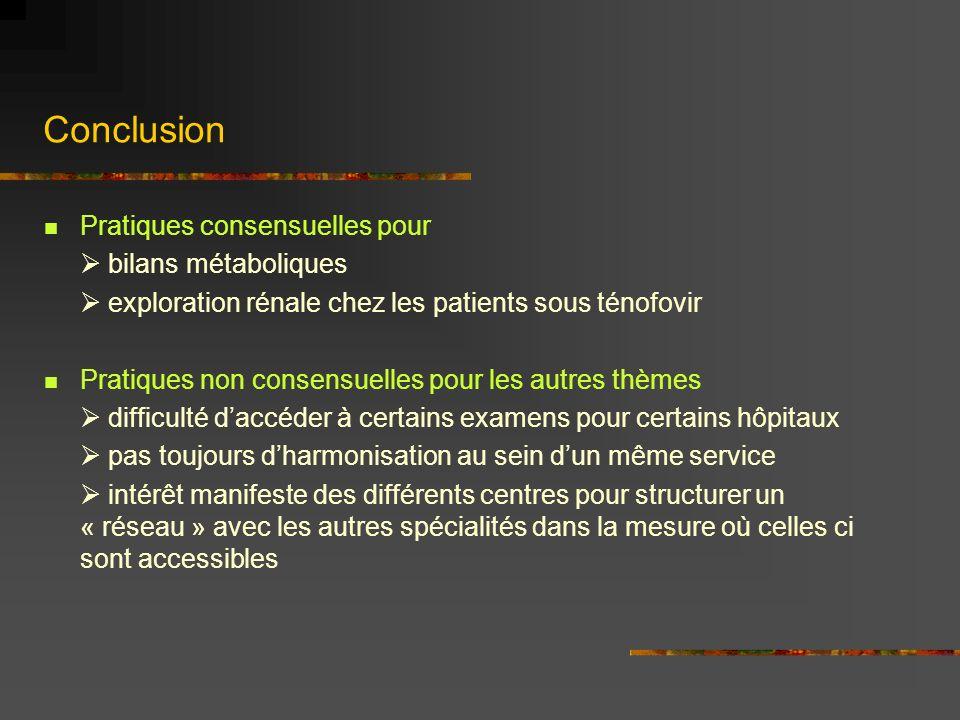 Conclusion Pratiques consensuelles pour  bilans métaboliques