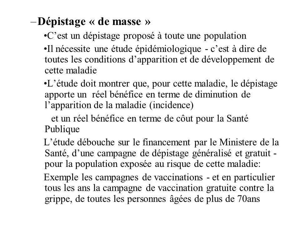 Dépistage « de masse » C'est un dépistage proposé à toute une population.