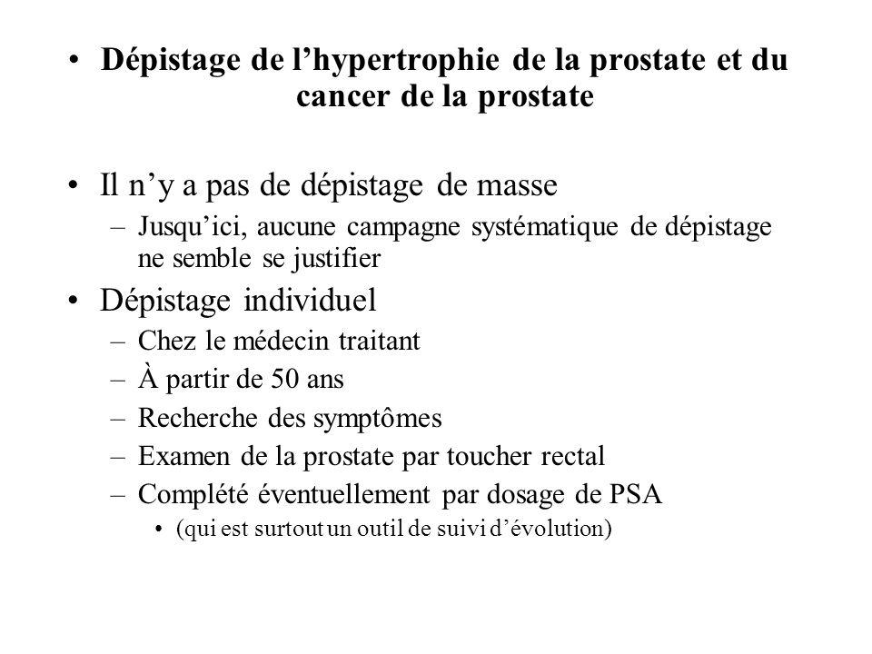 Dépistage de l'hypertrophie de la prostate et du cancer de la prostate