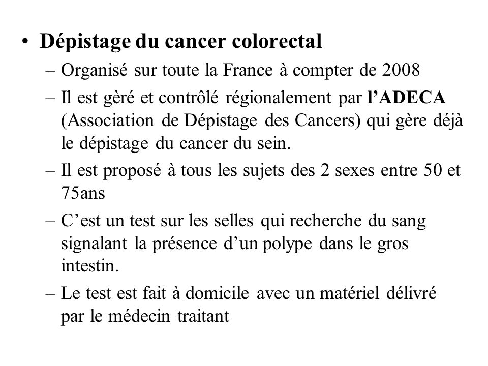 Dépistage du cancer colorectal