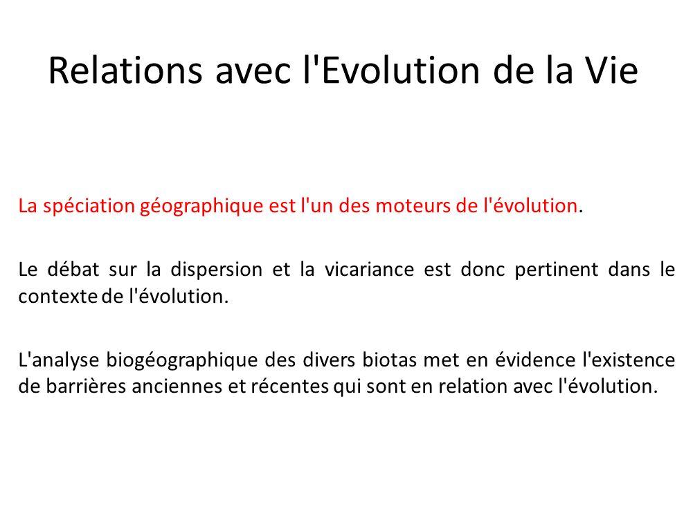 Relations avec l Evolution de la Vie