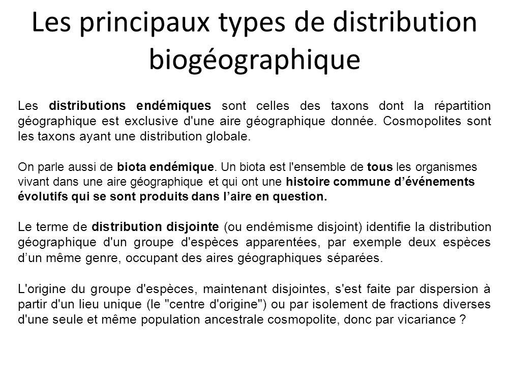Les principaux types de distribution biogéographique
